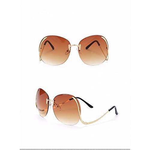 SYQA Sonnenbrille Ovale randlose Sonnenbrille-Frauen-Weinlese-Sonnenbrille-Frauen-weibliches Markendesign-Rosa-klare Linse Uv400-Gläser,C1