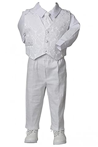 Baby set with white linen suit vest and tie printed