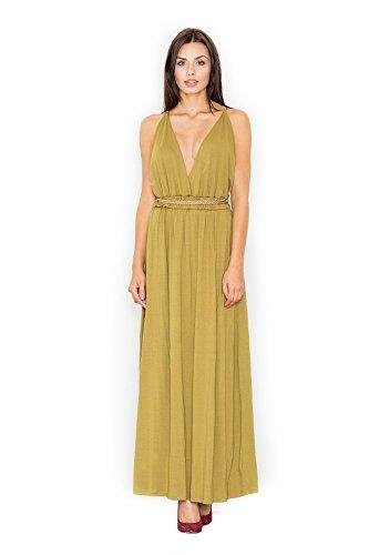 Figl Robe maxi habillée avec ceinture en cordelette dorée Olive