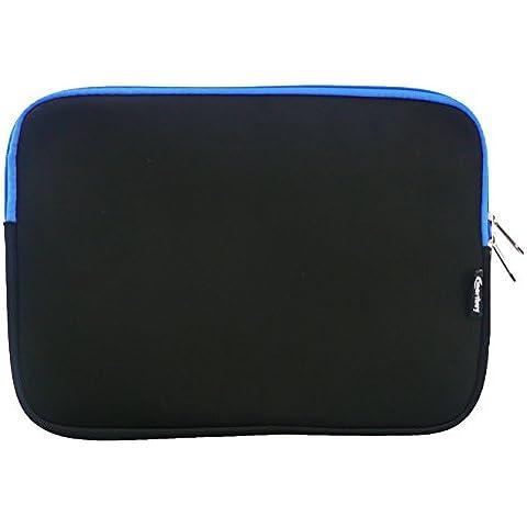 Emartbuy® Nero / Blu Impermeabile Morbido Neoprene Custodia Sleeve Case Cover Con Blu Interno & Cerniera Lampo Adatta Per Dell Latitude 14 E7470 Laptop 14 Pollice ( 13-14 Pollice Notebook )