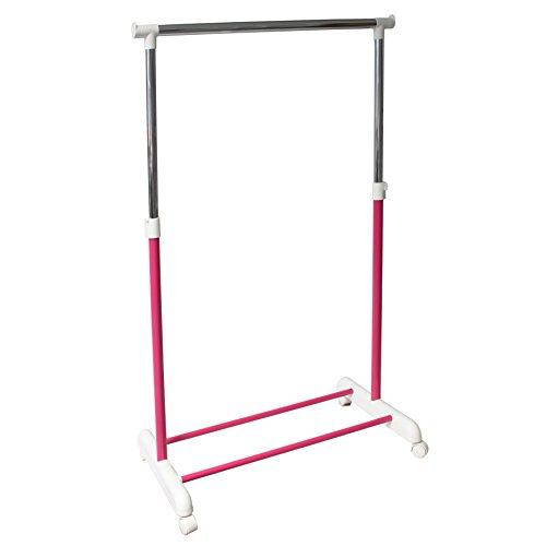 (Kleiderstange Garderobenstange Garderobenständer Kleiderständer Garderobe höhenverstellbar mobil pink)