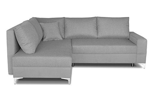 Windsor & Co Gauche Convertible Canapé d'Angle, Tissu, Gris Clair, 235 x 190 x 88 cm