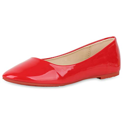 SCARPE VITA Damen Klassische Ballerinas Elegante Slip On Schuhe Lack Slipper Flache Abendschuhe Flats Glitzer 181587 Rot Lack 36