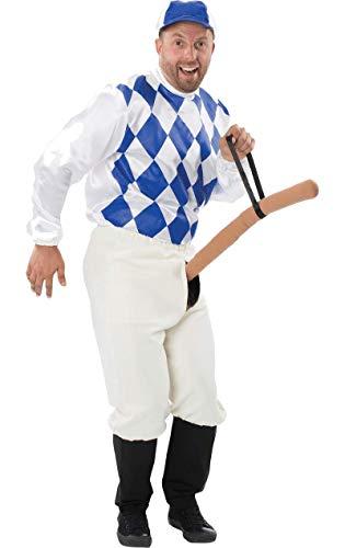 Damen Jockey Kostüm - ORION COSTUMES Wilder Jockey Penis Reiter Herrenkostüm Weiss-blau-hautfarben M / L