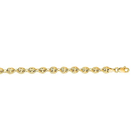 14K Yellow Gold 4.5mm wide Diamond Cut Puffed Mariner Link Chain 20