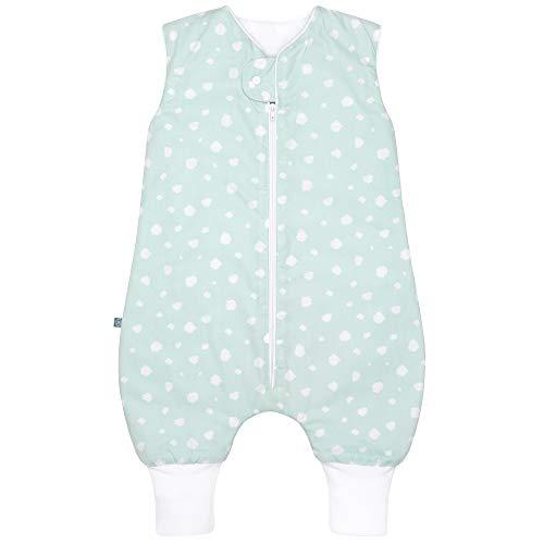 Premium Baby Winter Schlafsack mit Füßen, Großzügige Bewegungsfreiheit, Flauschig Weich, 100% natürliche Baumwolle, für 15-21°C Grad - 2.5 TOG, Größe: 70cm, Design: Punkte Mint von emma & noah