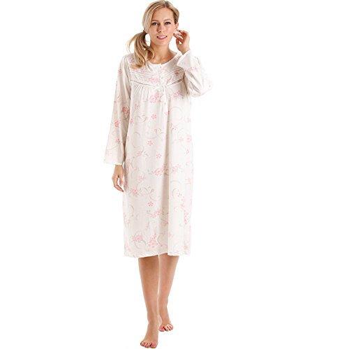 Lady OLGA Donna Camicia da notte donna MOTIVO FLOREALE lungo manica camicie camicia da notte 10-36 8904 Rosa
