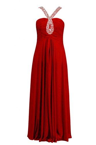 Sunvary Robe Longue Robe de Soir¨¦e Robe de Bal Robe de Demoiselle dHonneur Spaghetti Straps Empire A-Ligne avec Paillettes en Chiffon Rouge