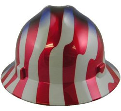 MSA (Mine Safety Appliances) 10071157 V-Gard Freedom Series Class E Type I Hard Hat with Fast-Track Suspension and American Stars and Stripes by MSA (Mine Safety Appliances Co) (Hat Msa Hard Safety)