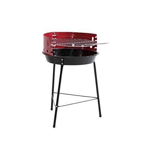 Kamino BBQ Grill New Orleans Rundgrill mit Windschutz und 4-fach verstellbarem Grillrost, Stahlblech, Ø ca. 32 cm -
