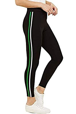 ROOLIUMS ® (Brand Factory Outlet) Women's/Girls Stripe Tights for Yoga, Gym and Active Sports Fitness