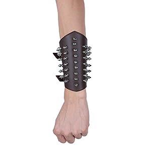 CHICTRY Unisex Herren Frauen Armband Leder Armband Schwarz Breite Punk Lederarmband Surferarmband Armreifen Verstellbar