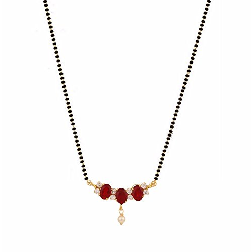 Archi Collection Gold Plated Jewellery Red Mangalsutra Pendant with Chain for Women