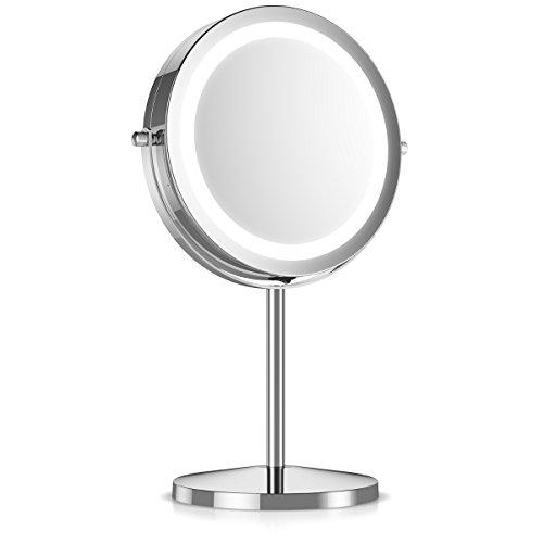 Navaris Kosmetikspiegel mit LED Beleuchtung - Spiegel mit 5fach Vergrößerung Make Up Standspiegel - Schminkspiegel beleuchtet 360° drehbar in - Gesichts-licht-schalter