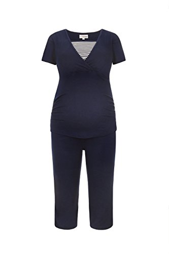 illpyjama-Umstandspyjama | Nachtwäsche-Pyjama-Set für Schwangerschaft-Stillzeit-Stillfunktion | Schlafanzug mit Spitze-Streifen-Muster | Softes Material | 2600 (XXL, Blau/Weiß) ()