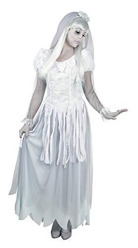 Nerd Clear Geister Kostüm für Frauen | Größe 36/38 | 2-teilig: Kleid, Haarreif mit Schleier | hochwertig & ideal für Karneval, Fasching & Halloween (Geist Kostüm Frauen)