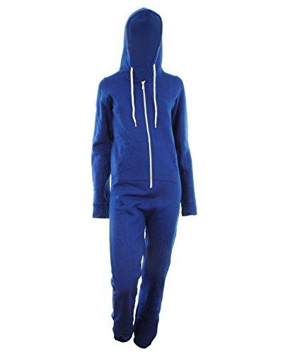 Blue XL-42 Dayna Damen Unisex Fleece ausgekleidet Plain Farbige Kapuzen mit Cuff Reißverschluss vorne Damen Jumpsuit Overall Onesie ()
