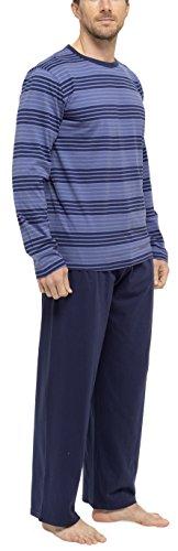 Tom Franks Herren-Pyjama, gestreift, Baumwolle, Shirt und lange Hose Dunkelblau
