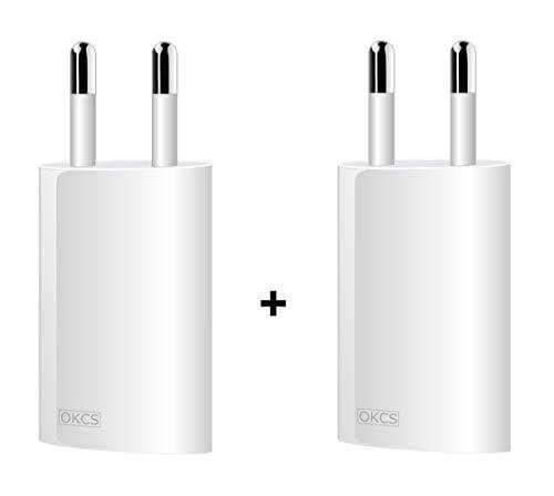 OKCS 5W 2X USB Oval Netzteil Netzstecker Adapter 5V / 1A für Smartphones/Tablets/eBook Reader/iPhone/Galaxy/Xperia/etc. in Weiß 5w Usb