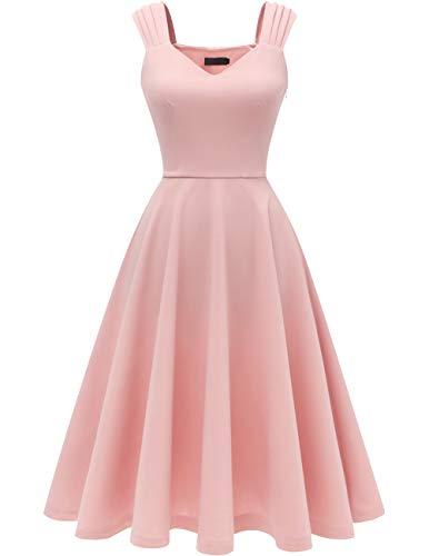 DRESSTELLS Damen 1950er Midi Rockabilly Kleid Vintage V-Ausschnitt Hochzeit Cocktailkleid Faltenrock Blush M