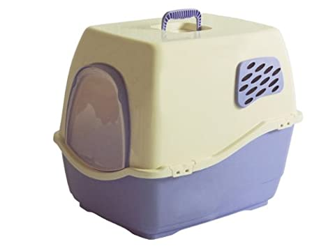 Marchioro Bill 2F Covered Cat Litter Pan with Filter, Medium/Large, Tan/Light Violet by Marchioro