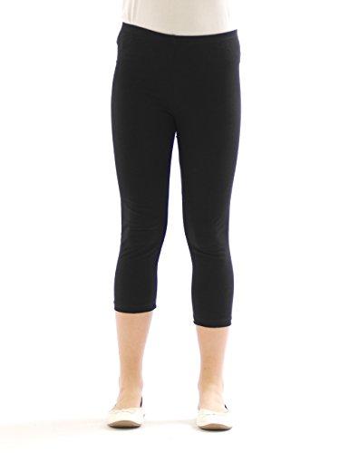 Mädchen Kinder Leggings Leggins Hose Capri 3/4 kurz aus Baumwolle Schwarz 146