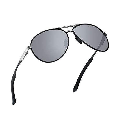 WHCREAT Herren Verspiegelte Polarisierte Sonnenbrille im Pilotenstil mit Federscharnieren UV400-Schutzglas (Schwarz silbrig Frame Mirror Lens)