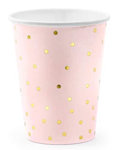 rosa mit goldenen Pünktchen 6 Stück metallic Polka Dots Einwegbecher ()