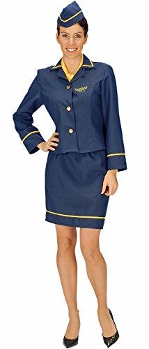 dunkelblau mit gelben Details für Damen | Größe 36/38 | 4-teiliges Flugbegleiterin-Kostüm (Kopf In Den Wolken Kostüm)