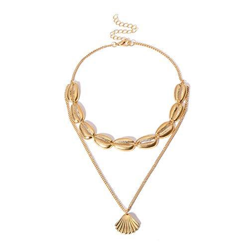 UNWMH Multi Layer Shell Halsketten Vintage böhmischen kreativen Schmuck für Teen Girls Party Beach