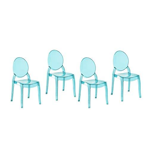 Beliani Esszimmerstuhl transparent blau 4er Set Merton