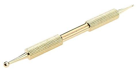 Remos - Bâton d'acupression - acier inoxydable avec surface dorée - 10cm - Ø 1,5 mm / 3.5mm