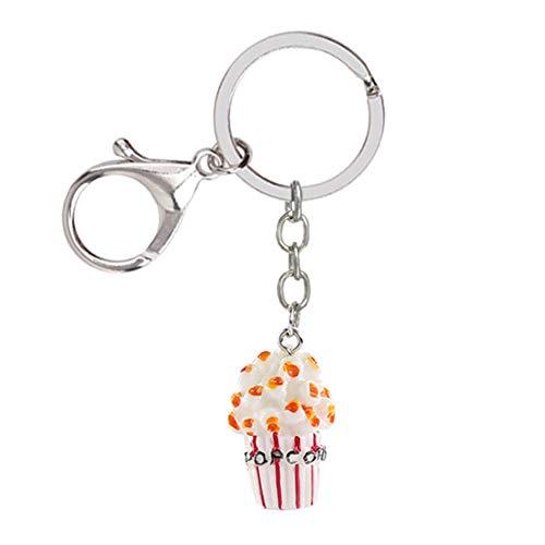 Fansi 1 Stück Fashion Legierung Schlüsselanhänger Kreativ Popcorn Form Schlüsselanhänger Geldbeutel Anhänger Dekoration Ideal als Geschenk