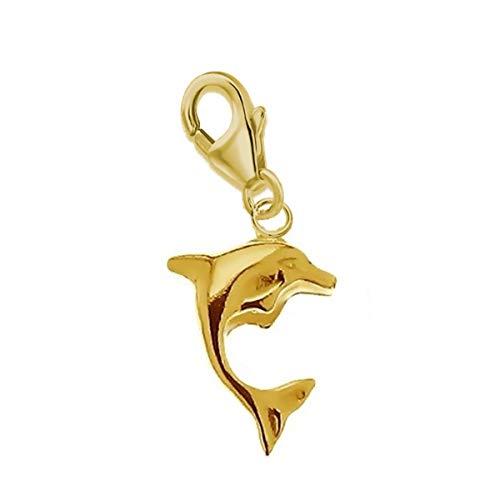 Charms Anhänger für Bettelarmband 925 Echt Silber Kinder Mädchen Damen Sterlingsilber (Delfin Gold 13x8mm) (Gold Baby-mädchen Charms)