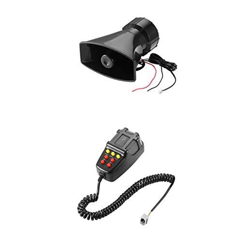 Royalr 12V 100W Elektro-Luft-Horn-Auto-LKW-Sirene Lautsprecher 7 Ton Ton Horn-Verstärker-Lautsprecher-System 300DB (Hörner Lautsprecher Für Autos)