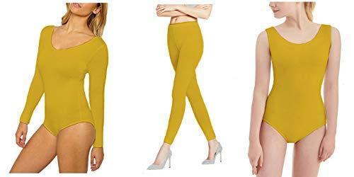 RSVH Mädchen Kinder Ballett Dance Gymnastik glänzend Nylon Lycra Leggings Gymnastikanzug Pack 9-10Jahre Gold (Disco Tanzen Kostüm Mädchen)