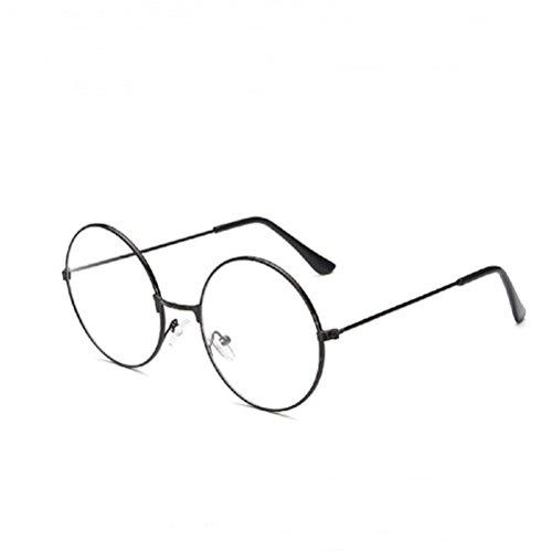 Brille Kostüm - LUOEM Vintage Runde Brille Klare Linse Brille ohne Stärke Unisex (Schwarz)