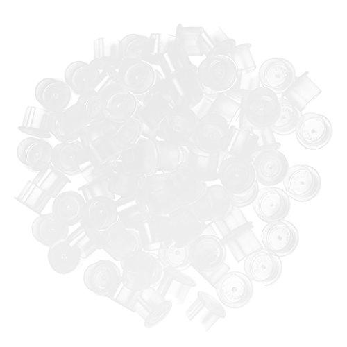 MagiDeal 100pcs 13 mm Tatouage Tasse Jetable en Plastique Glue anneaux Pigment Ink Ongle Art Tatouage titulaires anneaux cils Extensions