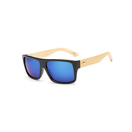 Vikimen Sports Eyewear, Original Wooden Bamboo Sunglasses Men Women Mirrored UV400 Sun Glasses Real Wood Shades Gold Blue Outdoor Goggles Sunglases Male KP 1523 C2 Blue