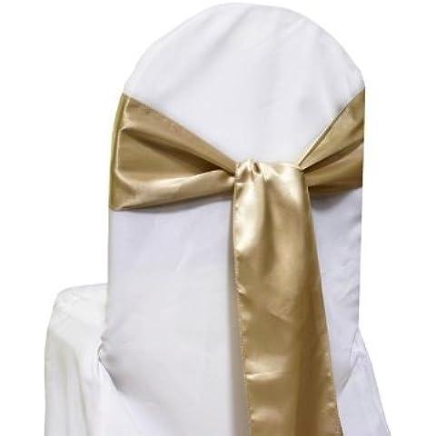 10nuovo raso Chair Sashes Fiocchi–Fascette decorative per matrimonio, Champagne