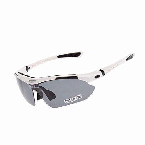 Gafas polarizadas de bicicleta RockBros, protección UV, ultraligeras, con 5 cristales de recambio, Weiß