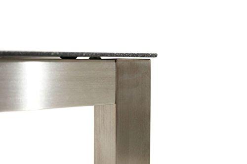 Ploß 1200029 Esszimmer-Tisch B/T/H 150 x 90 x 75 cm Edelstahl Glasplatte Schwarze Steinoptik