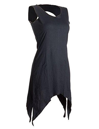 Vishes - Alternative Bekleidung – Zipfeliges Elfenkleid aus Baumwolle – mit rundem Rückenausschnitt Schwarz