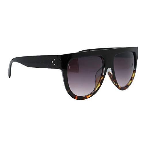 Damen-Sonnenbrille I Modell Milano I Oversize-Brille Schwarz I UV-Schutz I Übergroße Sonnenbrille (Leopard)