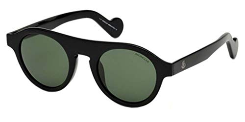 MONCLER Unisex Adults' ML0039 01N 48 Sunglasses, Black (Nero Lucido/Verde)