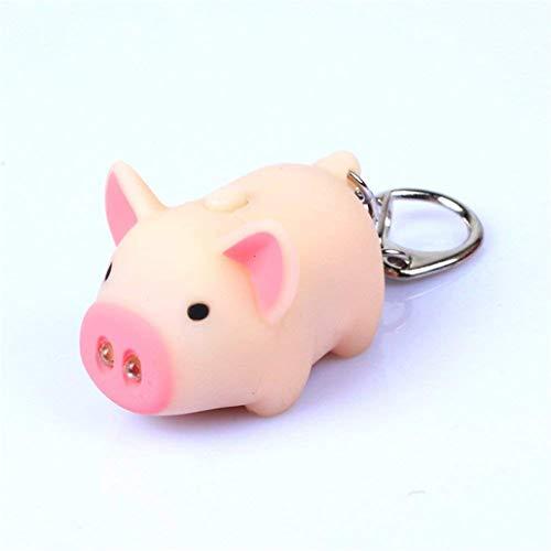 NYAOLE Cute Tier Pig Keyring Schlüsselanhänger LED Licht Vocal Key Ring Spaß Tasche Anhänger Sound Neuheit Party Geschenk, Fleisch (Licht Spaß Keychain)