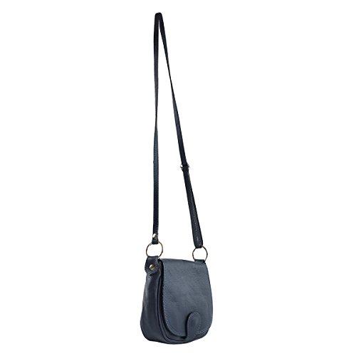 CTM Pochette a spalla da donna, borsetta in vera pelle made in Italy - 19x17x6 Cm Blu scuro