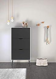Tvilum Particle Board Oslo Shoe Cabinet, 41074, White/Matte Black, H138.8 x D70.2 x W23.9 cm, DIY Assembly
