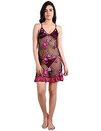 Diljeet® Women Girls Beautiful Satin Net Embroidered Dark Falsa(Purple)  Nighty Baby Doll Night Dress Nightwear… 517e18259