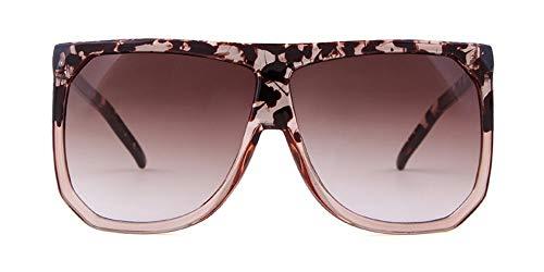 KONGYUER Sonnenbrillen, Brillen,Übergroße Pilot Sonnenbrille Frauen Markendesign Schildpatt Frame Flat Top Mode Dünne Sonnenbrille Shades Uv400 BlumeLichtTee